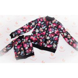Anya - lánya steppelt virágos tavaszi kabát szett pamut béléssel