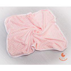 Wellsoft pihe-puha téli baba takaró  - rózsaszín fehér pöttyökkel