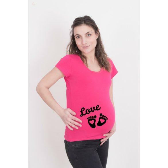 Kismama póló (mintás, feliratos) - Talpak szívecskével LOVE