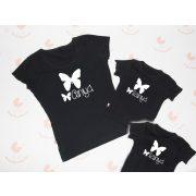 Anya két lánya póló szett - anya-lánya pillangós