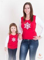 Anya lánya felső szett - karácsonyi hópihés