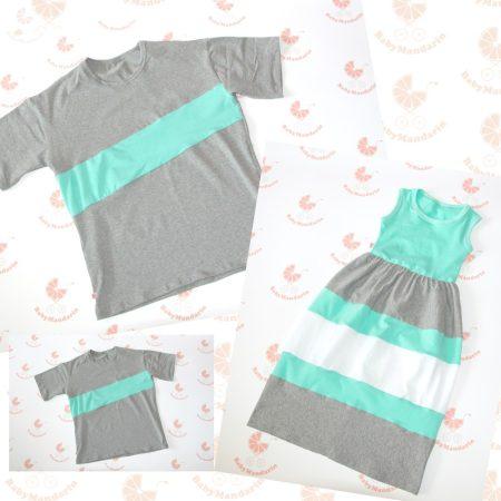 Anya maxi ruha - Apa fia póló (türkiz-szürke-fehér)