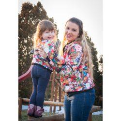 Anya - lánya aprósteppelt virágos tavaszi kabát szett pamut béléssel