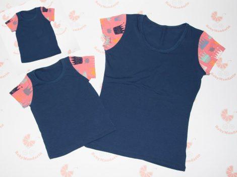 Anya- két lánya sötétkék póló szett koronás ujjal