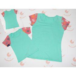 Anya- két lánya türkiz póló szett koronás ujjal