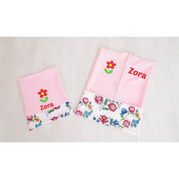 Ovis zsák és torna zsák egyedi névvel és/vagy jellel    /rózsaszín+kalocsai/
