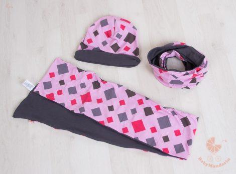 Buggyos sapka és sál szett (körsál vagy sima hosszú sál) Rózsaszín rombuszos