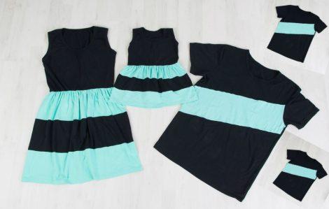Anya-Lánya ruha - Apa-két-fia póló (fekete - menta)