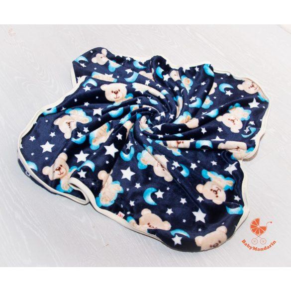 Wellsoft pihe-puha téli baba takaró  -sötétkék macis