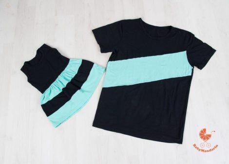Apa póló - lánya ruha szett (fekete-menta)