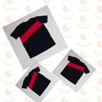 Apa - két fia póló szett Karácsonyi, fekete piros csíkkal