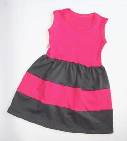 Gyerek ruha, baba ruha (pink-sötétszürke)