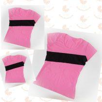 Anya- két lánya póló szett rózsaszín - fekete csíkkal