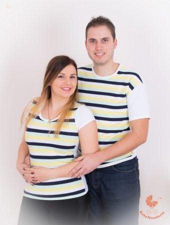 Szerelmespár póló szett (menta csíkos)