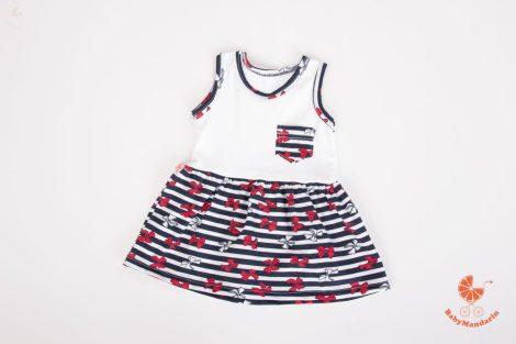 Gyermek ruha - fehér, csíkos - masnis szoknyarésszel
