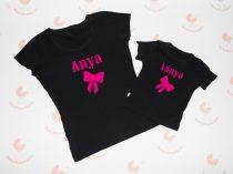 Anya lánya póló szett - anya-lánya pink masnis