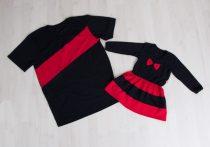 Apa póló - lánya ruha szett (fekete-piros karácsonyi)