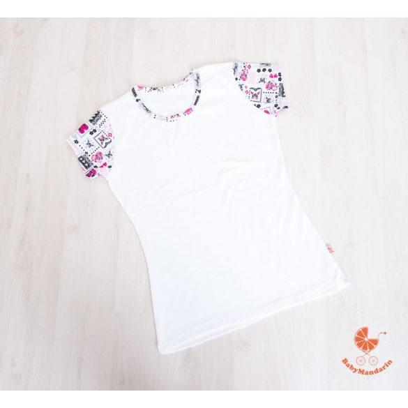 Női póló fehér pillangós ujjal
