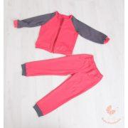 Kényelmes pamut bölcsis-ovis szett (Lazac-sötétszürke) cipzáros pulcsival