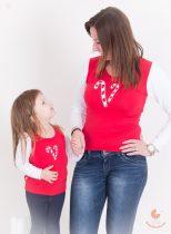 Anya lánya felső szett - karácsonyi cukorkás