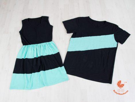 Tesós ruha szett - lányos ruha és kisfiús póló (fekete-menta)