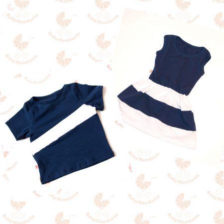 Tesós ruha szett - lányos ruha és kisfiús póló (Sötétkék-fehér)