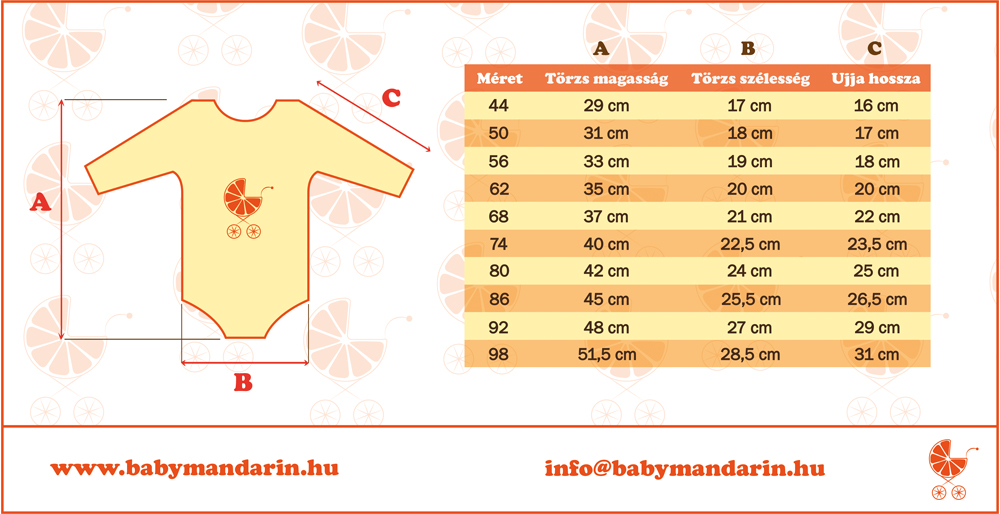 Mérettáblázat BabyMandarin hosszúujjú body
