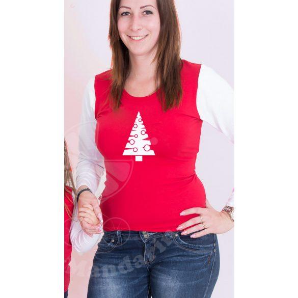 Karácsonyi női felső, női póló (Karácsonyfa)