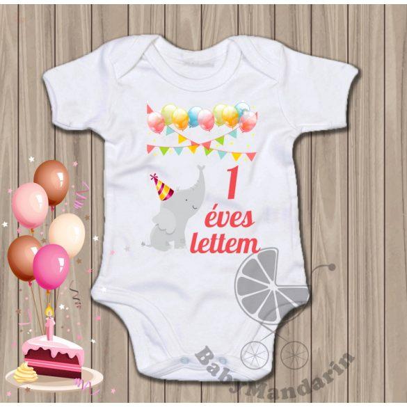 Első szülinap - születésnapos body 1 éves kiselefánt