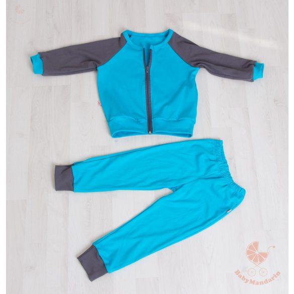 Kényelmes pamut bölcsis-ovis szett (türkiz-sötétszürke) cipzáros pulcsival