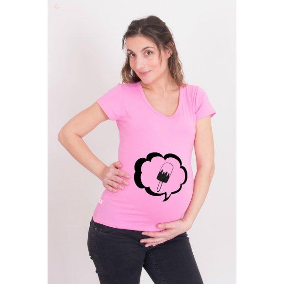Kismama póló (mintás, feliratos) - Fagyit kérek!