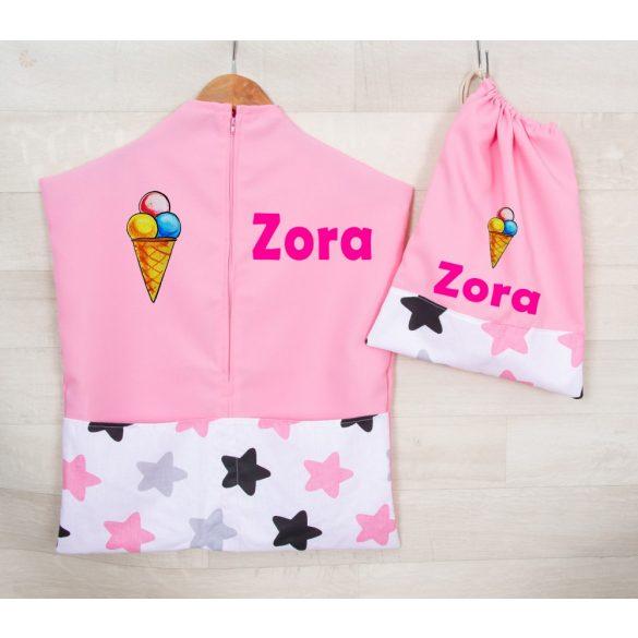 Teljes óvodai szett egyedi névvel és jellel  /rózsaszín+csillagos/ AJÁNDÉK táskával ÚJ KOLLEKCIÓ 2020