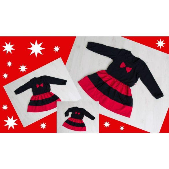 Anya -  két lánya ruha szett (karácsonyi fekete-piros)