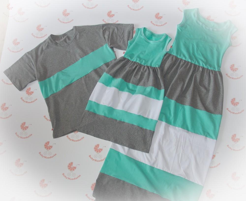 cfbcbeb15c Anya lánya ruha, apa póló (türkiz-szürke-fehér) - BabyMandarin ...