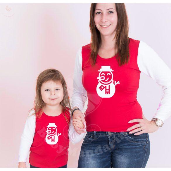 Karácsonyi anya-lánya felső szett (Hóember) anya-lánya póló szett