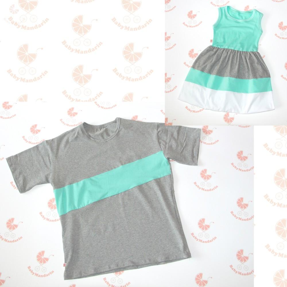 a86cb98bf6 Apa póló - lánya ruha szett (Szürke-türkiz) - BabyMandarin - Saját ...