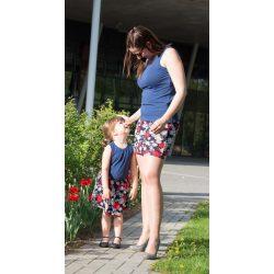 Anya lánya szoknya szett fehér sötétkék karikákkal