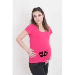 Kismama póló (mintás, feliratos) - Talpak szívecskével
