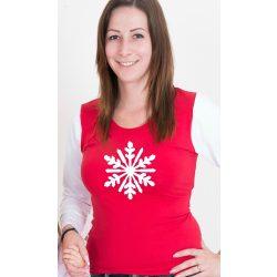 Karácsonyi női felső, női póló (Hópihe)