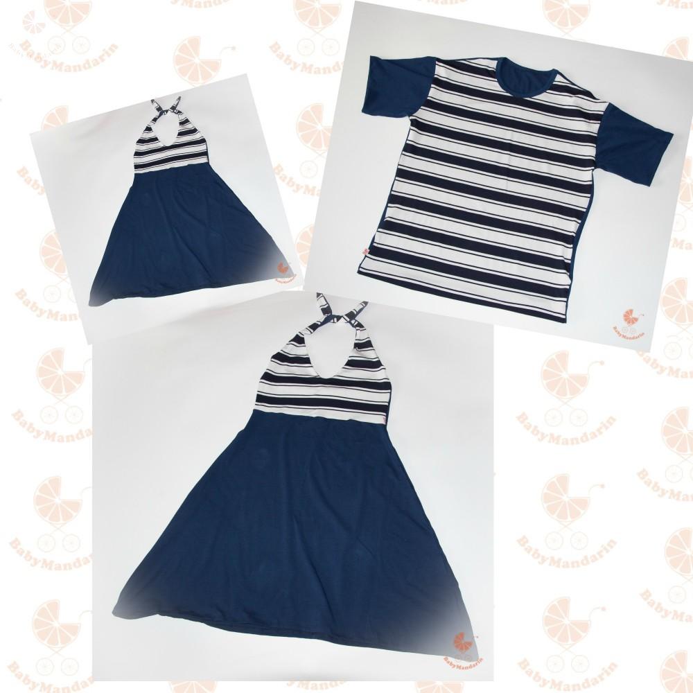 7d07ddbf31 Anya-Lánya ruha - Apa póló (Matróz csíkos-sötétkék) - BabyMandarin ...