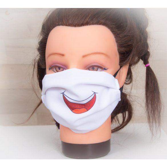 Designer textil maszk, egyedi maszk - nevető száj