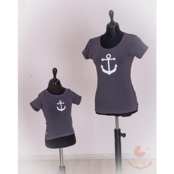 Anya fia póló szett - tengerész sötétszürke