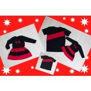 Anya - lánya ruha és apa - fia póló (karácsonyi fekete-piros)