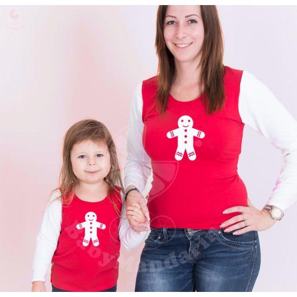 Karácsonyi anya-lánya felső szett (Mézi) anya-lánya póló szett