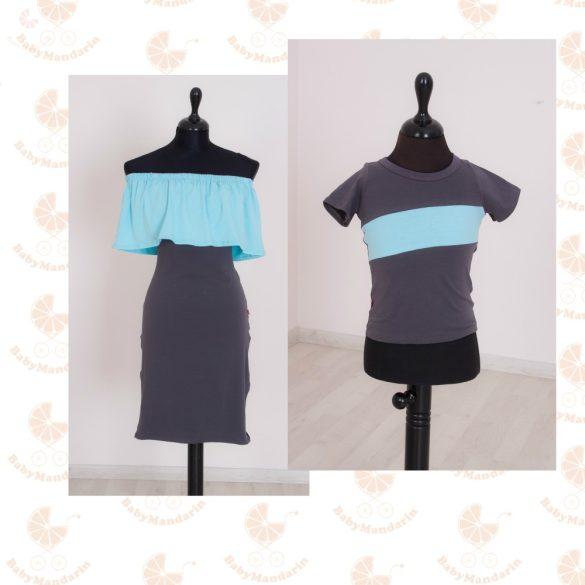 Szerelmespár ruha szett (világoskék-sötétszürke)