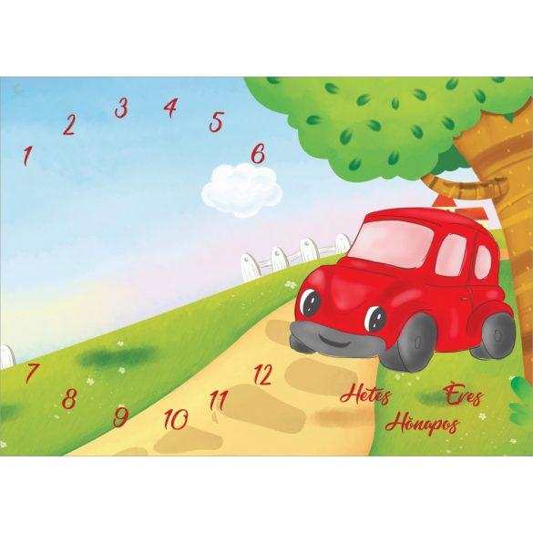 Mérföldkő takaró - hetes, hónapos, éves takaró  NAGY MÉRETŰ hónapos pléd /piros autós/