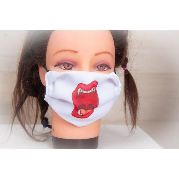 Designer textil maszk, egyedi maszk - vámpírszáj