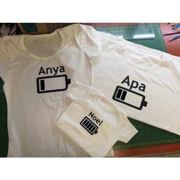 Anya-Apa-Gyerek póló szett VÁLASZTHATÓ SZÍNEK MERÜLŐ AKKSI