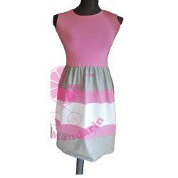 Női ruha (rózsaszín-szürke-fehér)