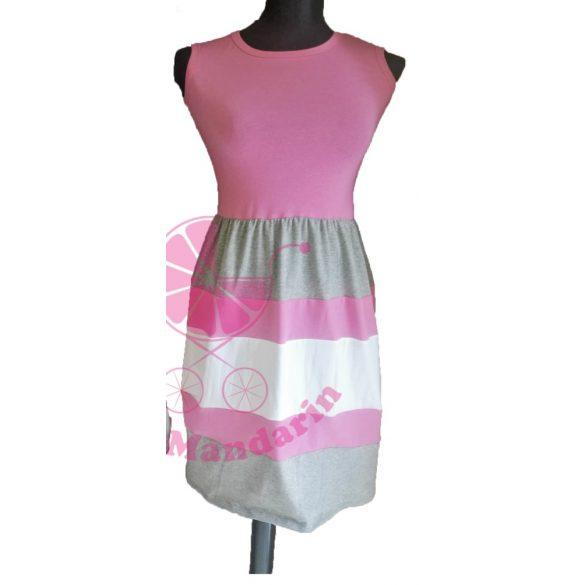 b9e6cf22bb Női ruha (rózsaszín-szürke-fehér) - BabyMandarin - Saját kollekciós családi  összeöltözős szettek .